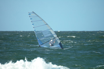 blue windsurfer