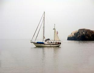 ketch at anchor