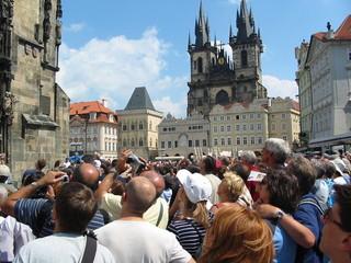 Wall Murals Prague tourist crowd in prague