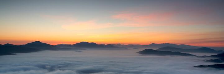sunrise over the fog