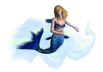 blonde mermaid - includes clipping path