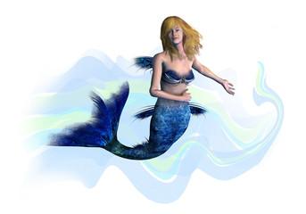 Photo sur Aluminium Mermaid blonde mermaid - includes clipping path