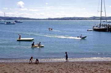 holiday makers at sea side