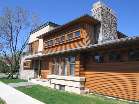 modern house with cedar siding