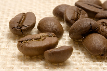 coffee beans on linen
