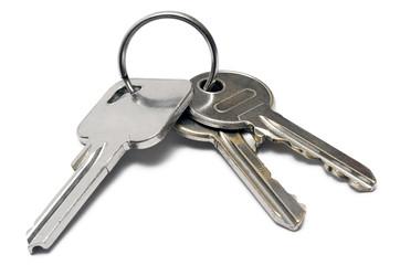 three apartment keys w/ ring