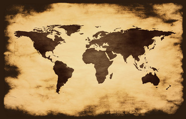 world map on grunge background