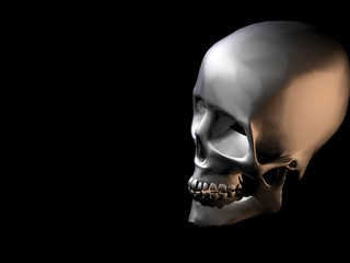 3d human skull after smoking with reflexive textur