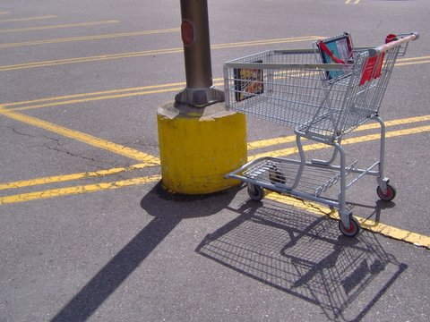 shopping cart in parking lot