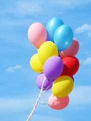 colorful balloons against sky