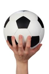 hand hold soccer ball