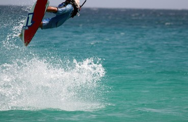 flying kitesurfer