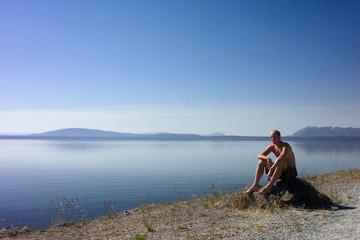 man at yellowstone lake