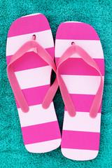 pink stripped flip flops