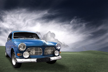 Tuinposter Oude auto s blue old car