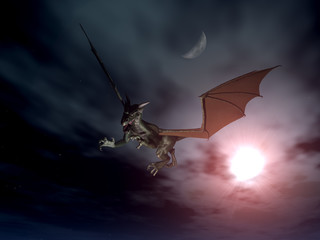 Papiers peints Dragons dragon attack - nacht szene