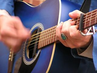 furious guitar strumming
