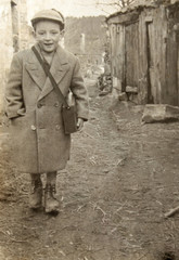 vintage photo of a boy in europe