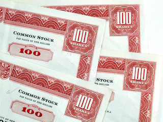 red hundred shares certificates
