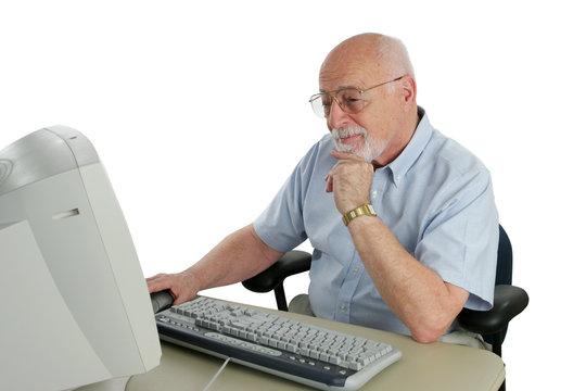 senior researching online