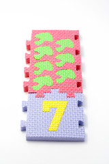 number seven puzzle mats. focus on the front (smal