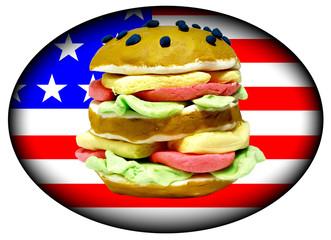 hamburger sur drapeau américain ovale