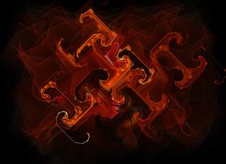 red swirls background