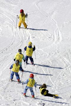 children learning to ski