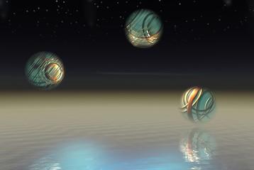 three alien spheres