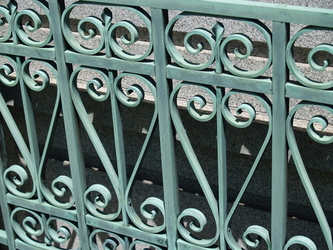 green wrought iron gate