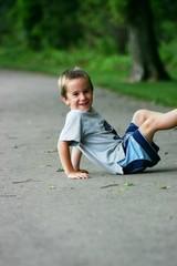 boy on sidewalk