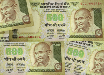 indian currency, closeup of five hundred rupee not