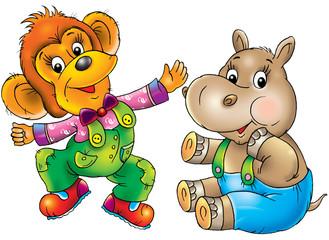 Keuken foto achterwand Beren the cheerful monkey,the hippopotamus