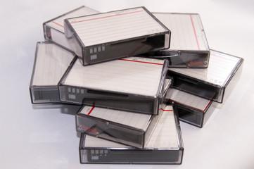 pile of mini dv tapes