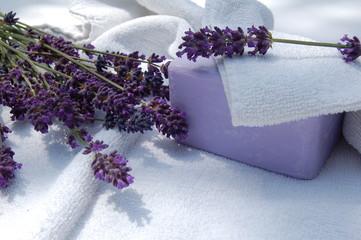 Printed roller blinds Lavender savon, lavande et serviette