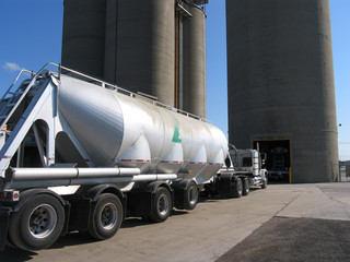 truck loading at ready mix cement plant