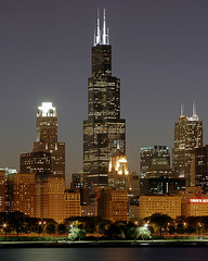 chicago cityscape and sears tower
