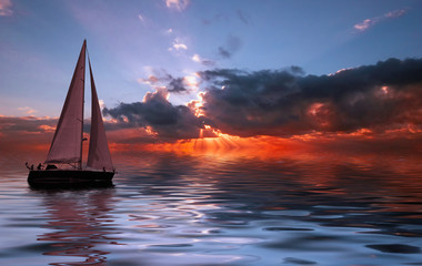 Photo sur Plexiglas Voile sailing at sunset