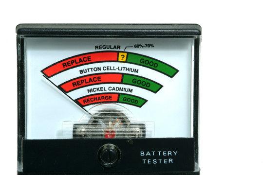 battery tester on white