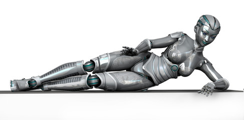 robot laying on frame edge