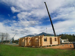 log cabin and crane