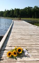 bouquet on dock