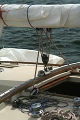 detail of a sailing yacht.