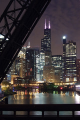 chicago city night view - from a bridge over the chicago river
