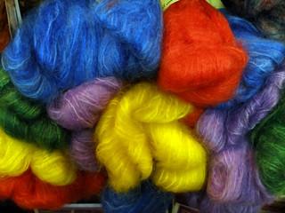 brightly colored yarn