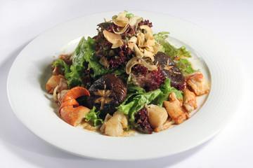 seafood, mushroom and vegetable