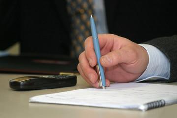 business meeting - closeup of hand