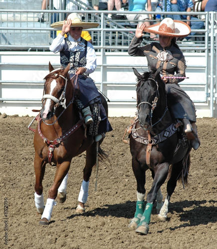 quottwo mexican cowgirls on horsebackquot stock photo and