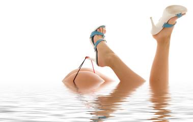 high heels in water