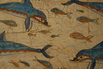 wallpainting of dolphins